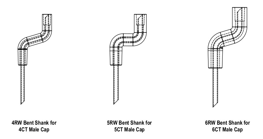 CMW Bent Shank for Male Caps